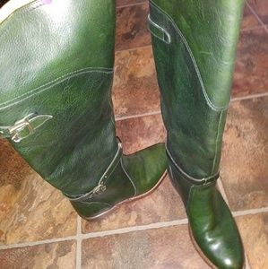 Frye hunter green leather boots 6.5